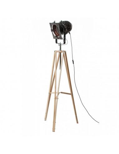 Lampa stojąca indsutrialna REFLEKTOR M czarny-miedź podstawa drewno-FH