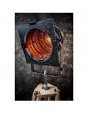 Lampa stojąca indsutrialna REFLEKTOR M czarny-miedź podstawa drewno-FH(2)