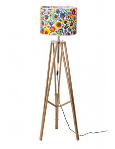 Floor lamp TRIPOD FOLK WAX WOOD Lampshade OWAL White