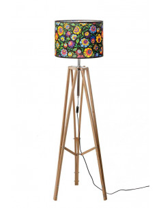 Floor lamp TRIPOD FOLK WAX WOOD Lampshade OWAL Black