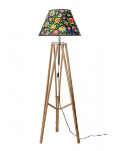 Floor lamp TRIPOD FOLK WAX WOOD Lampshade CONE Black
