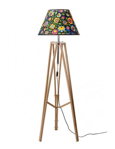 Lampa podłogowa / stojąca / TRIPOD FOLK drewno woskowane ABAŻUR STOŻEK CZARNY Fashion-Home