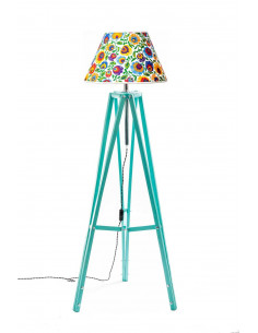 Floor lamp TRIPOD FOLK Mint Lampshade STOŻEK White