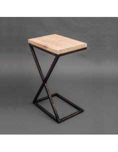 Industrial auxiliary table IKS natural wooden top
