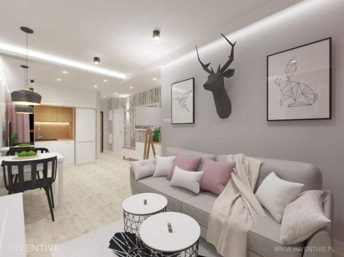 mały salon ze strefą komfortu - INVENTIVE studio