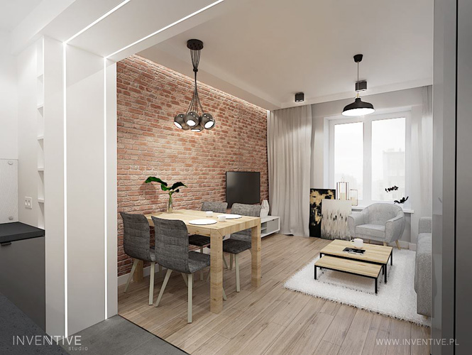 maly salon z jadalnią i kuchnią - INVENTIVE studio
