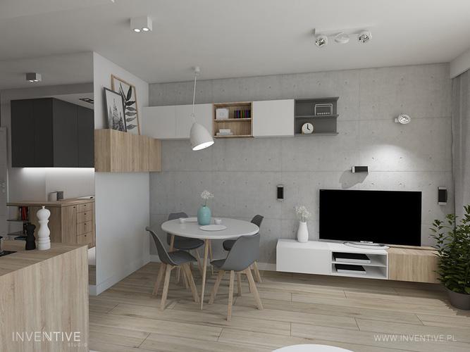 mały salon - betonowa ściana - INVENTIVE studio