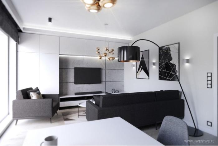 mały salon - biel, czerń, szarość, złoto - INVENTIVE studio