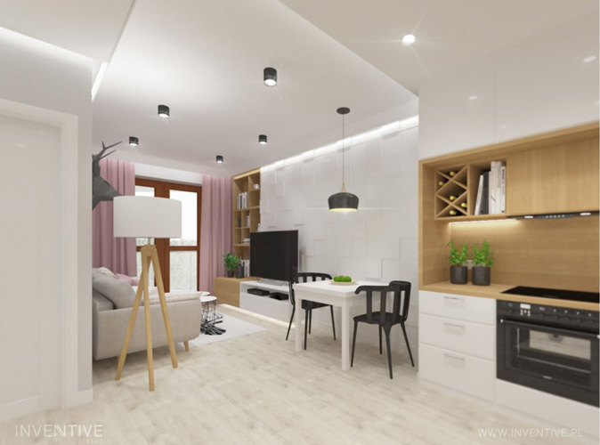 mały salon z aneksem kuchennym - INVENTIVE studio