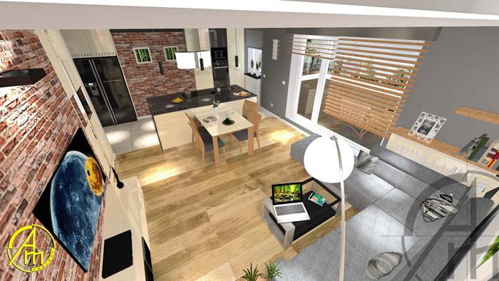 mały salon z dużą kanapą - projekt-am