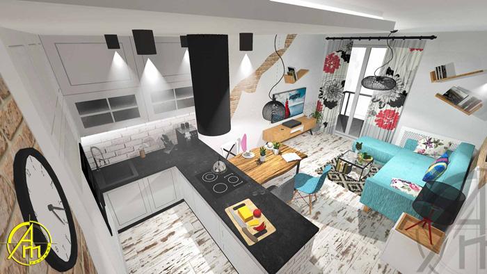 mały salon - optymalizacja przestrzeni - INVENTIVE studio